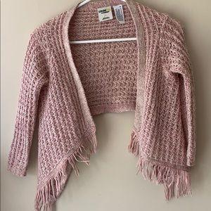 Girls hi low fringe sweater poncho cardigan